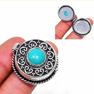 New Turquoise Silver Poison Ring. Size 6.75